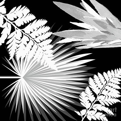 Painting - Palms And Ferns Tropical Pattern In Black And White by Saundra Myles