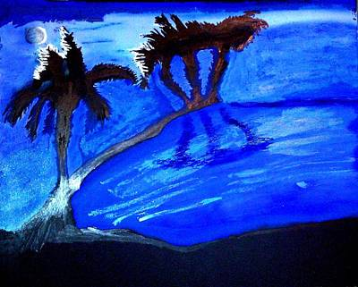 Painting - Palms Beneath A Silvery Moon by Lorna Lorraine