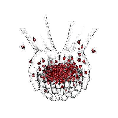 Ladybug Drawing - Palms Full Of Ladybugs by Dovia Art