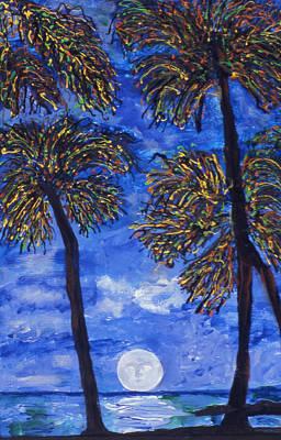 Malibu Painting - Moon Over Malibu by Lorin Zerah