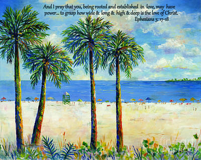 Painting - Palms On Siesta Beach With Scripture by Lou Ann Bagnall