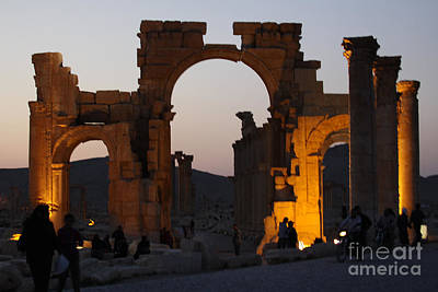 Photograph - Palmyra Before...triumphal Arch At Dusk by PJ Boylan