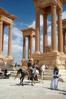 Photograph - Palmyra-tetrapylon Visitors by PJ Boylan