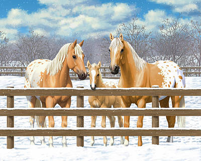 Palomino Foal Painting - Palomino Appaloosa Horses In Snow by Crista Forest