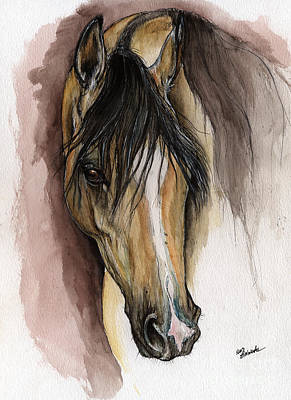 Palomino Horse Painting - Palomino Arabian Horse Watercolor Portrait by Angel  Tarantella
