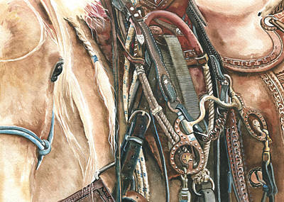 Roping Horse Painting - Palomino by Nadi Spencer