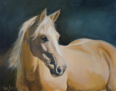Palomino Painting - Palomino On Blue by Mary Leslie