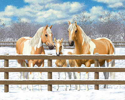 Palomino Foal Painting - Palomino Paint Horses In Snow by Crista Forest