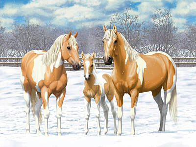 Paint Horse Painting - Palomino Paint Horses In Winter Pasture by Crista Forest