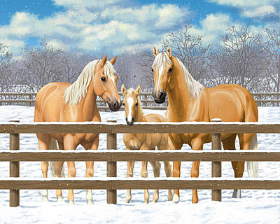 Palomino Foal Painting - Palomino Quarter Horses In Snow by Crista Forest