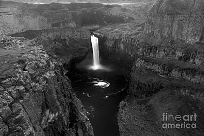 Photograph - Palouse Falls Canyon Black And White by Adam Jewell