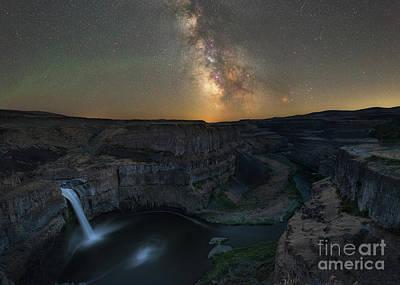 Palouse Falls Milky Way Galaxy  Art Print