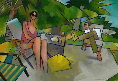 Randy Painting - Pam And Randy At Lanikai by Douglas Simonson