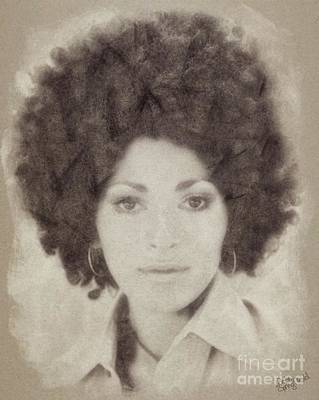 Musicians Drawings - Pam Grier, Vintage Actress by John Springfield