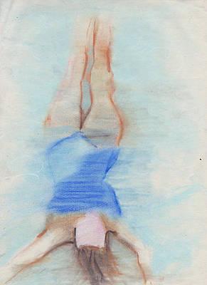 Brad Wilson Drawing - Pamela Underwater by Brad Wilson