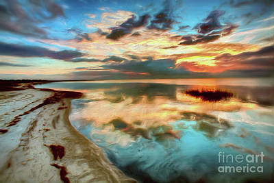 Painting - Pamlico Sound Sunset On The Outer Banks Ap by Dan Carmichael