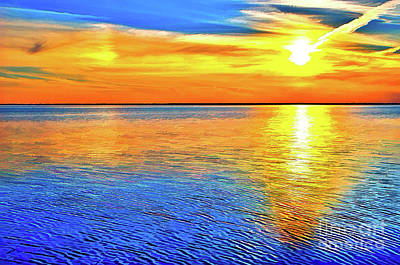 Painting - Pamlico Sound Sunset Outer Banks Ap by Dan Carmichael