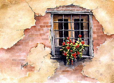 Flower Boxes Painting - Pampa Window by Sam Sidders