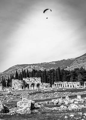 Photograph - Paragliding Over The Ruins Of Pamukkale by Rene Triay Photography