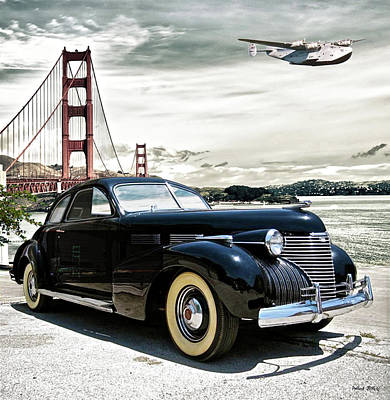 Transportation Digital Art - 1946 Cadillac, Pan Am Boeing 314 Clipper Leaving San Francisco To Honolulu by Thomas Pollart