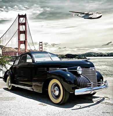 Transportation Digital Art - 1946 Cadillac, Pan Am Boeing 314 Clipper Leaving San Francisco To Honolulu by Thomas Pollart