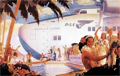 Landmarks Mixed Media - Pan American Airways - Hawaiians Greeting People - Retro travel Poster - Vintage Poster by Studio Grafiikka