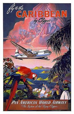 Mixed Media Royalty Free Images - Pan American World Airways - Flying Clippers - Caribbean - Retro travel Poster - Vintage Poster Royalty-Free Image by Studio Grafiikka