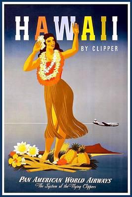 Mixed Media - Pan American World Airways - Hawaii - Retro Travel Poster - Vintage Poster by Studio Grafiikka