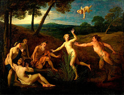 Pan Pipes Painting - Pan And Syrinx by Bon Boullogne the Elder