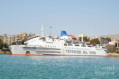 Folkestone Harbour Wall Art - Photograph - Panagia Tinou Ferry Listing At Piraeus by David Fowler