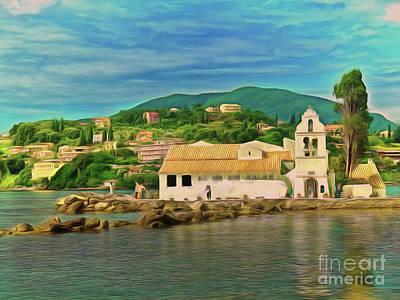 Art Print featuring the photograph Panagia Vlacherna Church - Pontikonisi - Corfu by Leigh Kemp