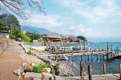 Photograph - Panajacel Docks On The Shore Of Lake Atitlan In Guatemala by Daniela Constantinescu