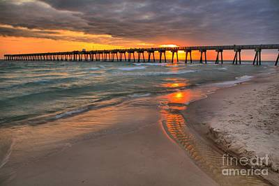 Photograph - Panama City Pier Fiery Sunset by Adam Jewell