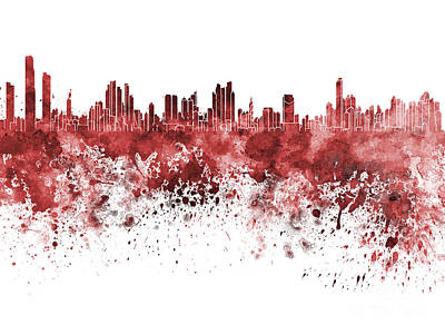 Central America Painting - Panama City Skyline In Red Watercolor On White Background by Pablo Romero