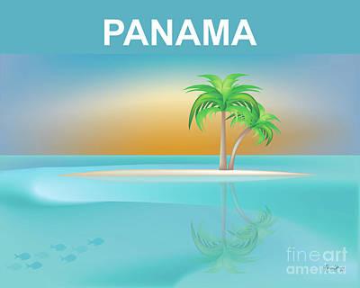 Toro Digital Art - Panama Horizontal Scene by Karen Young