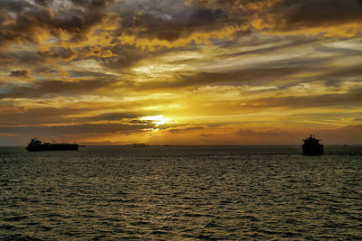 Digital Art - Panama Sunset With Ships by John Haldane