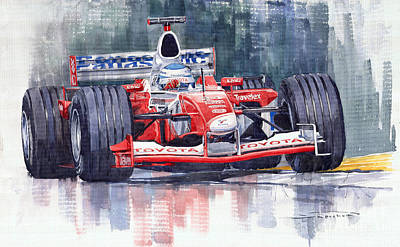 Sports Cars Painting - Panasonic Toyota Tf102 F1 2002 Mika Salo by Yuriy  Shevchuk