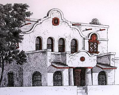 Old Building Drawing - Pancho Villa Met Here by Candy Mayer