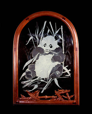 Carved Glass Painting - Panda And Bamboo by Dan Redmon