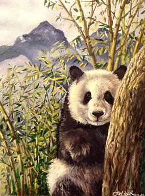 Painting - Panda by Art By Three Sarah Rebekah Rachel White