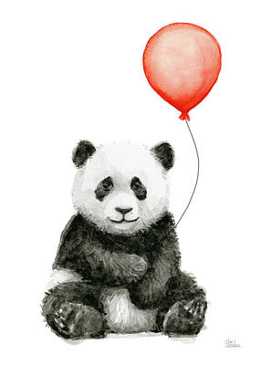 Panda Baby And Red Balloon Nursery Animals Decor Print by Olga Shvartsur