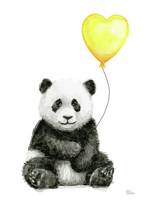 Panda Illustration Painting - Panda Baby With Yellow Balloon by Olga Shvartsur