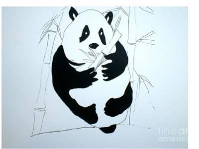Panda Bear And Bamboo Art Print by Hal Newhouser
