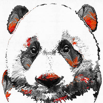 Panda Bear Painting - Panda Bear Art - Black White Red - By Sharon Cummings by Sharon Cummings