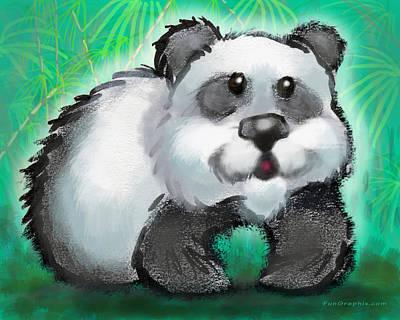 Fun Digital Art - Panda Bear by Kevin Middleton