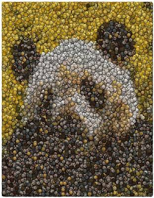 Art Print featuring the digital art Panda Coin Mosaic by Paul Van Scott