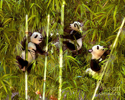 Panda Cub Wall Art - Painting - Panda Cubs by Methune Hively
