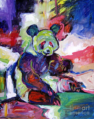 Panda Bear Painting - Panda by David Lloyd Glover