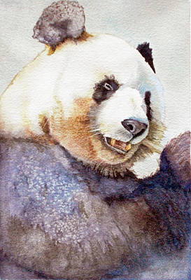 Panda Eating Art Print by Bonnie Rinier