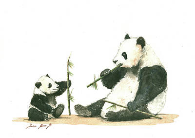 Panda Cub Wall Art - Painting - Panda Family Eating Bamboo by Juan Bosco